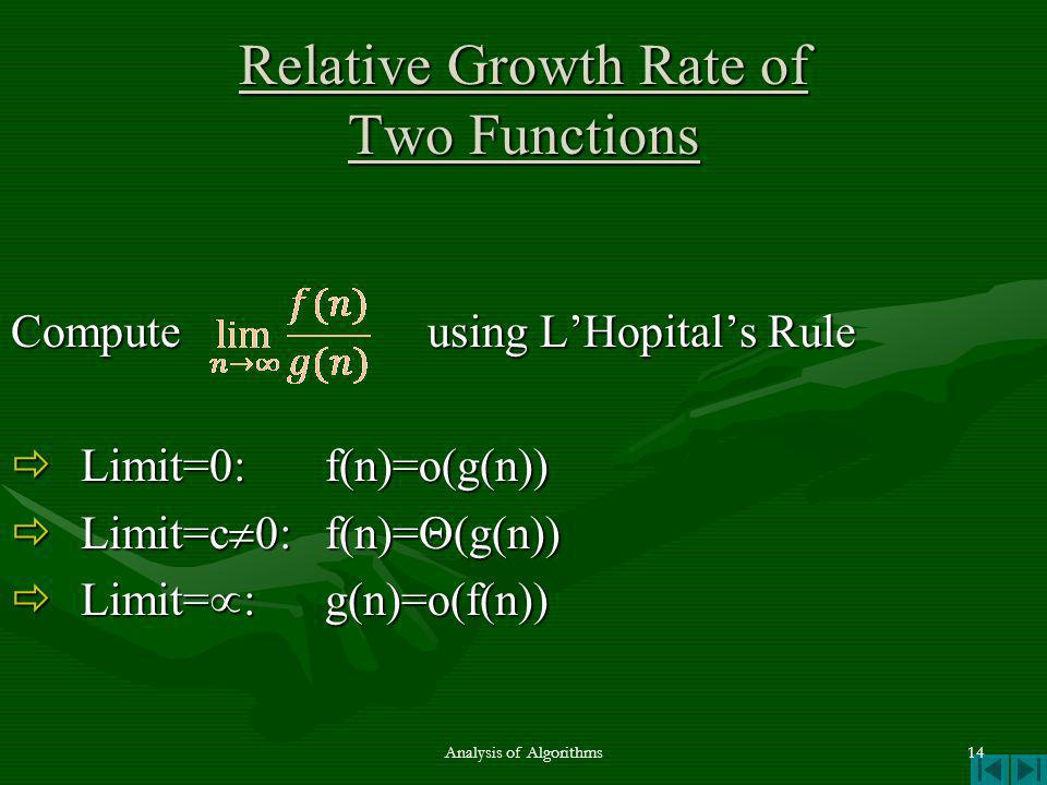 Relative Growth Rate of Two Functions Compute using LHopitals Rule Limit=0: f(n)=o(g(n)) Limit=0: f(n)=o(g(n)) Limit=c 0:f(n)= (g(n)) Limit=c 0:f(n)= (g(n)) Limit= :g(n)=o(f(n)) Limit= :g(n)=o(f(n)) Analysis of Algorithms14