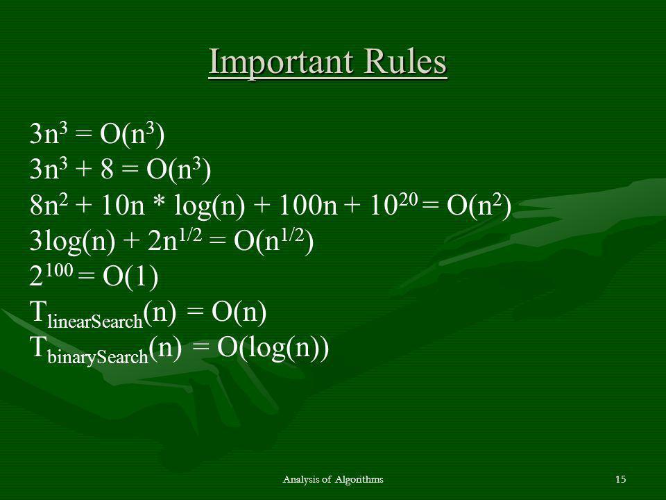 3n 3 = O(n 3 ) 3n 3 + 8 = O(n 3 ) 8n 2 + 10n * log(n) + 100n + 10 20 = O(n 2 ) 3log(n) + 2n 1/2 = O(n 1/2 ) 2 100 = O(1) T linearSearch (n) = O(n) T b