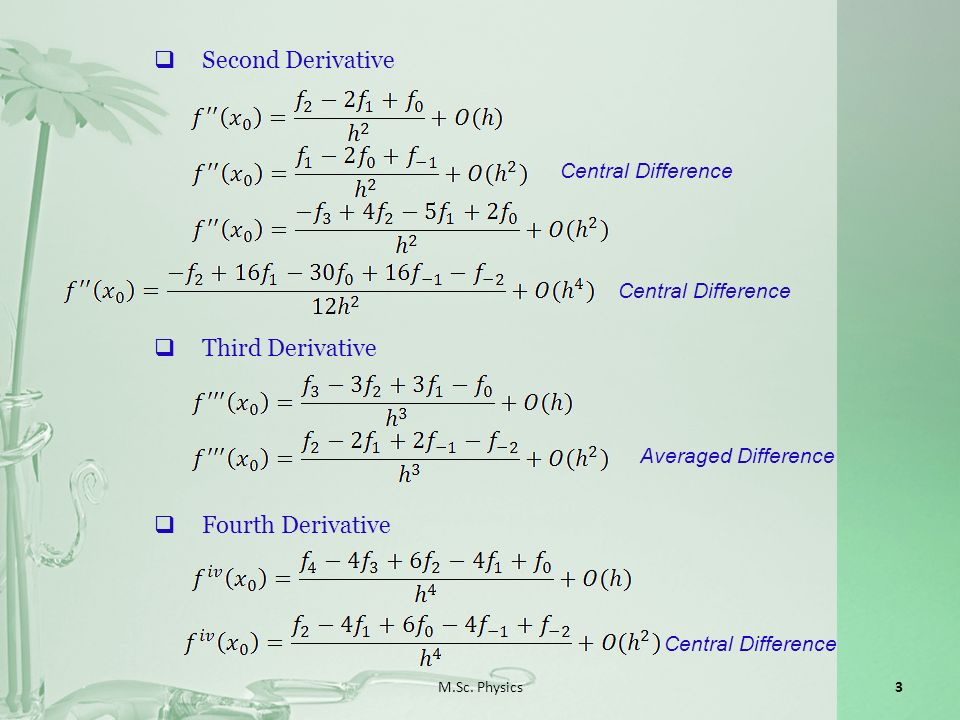 M.Sc. Physics3 Second Derivative Central Difference Third Derivative Averaged Difference Fourth Derivative Central Difference