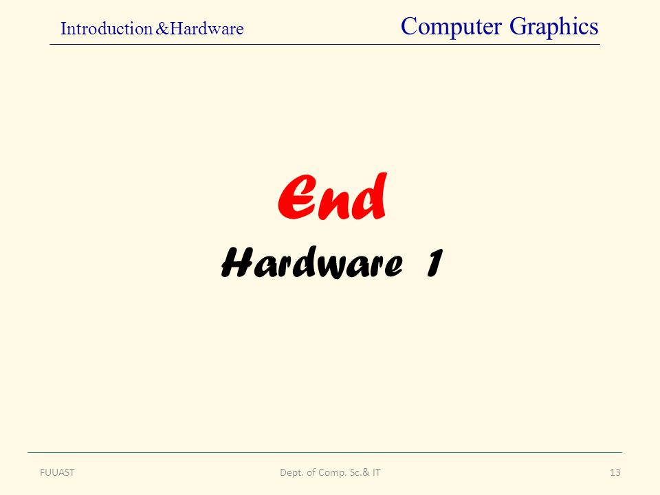 End Hardware 1 FUUASTDept. of Comp. Sc.& IT13 Introduction &Hardware Computer Graphics