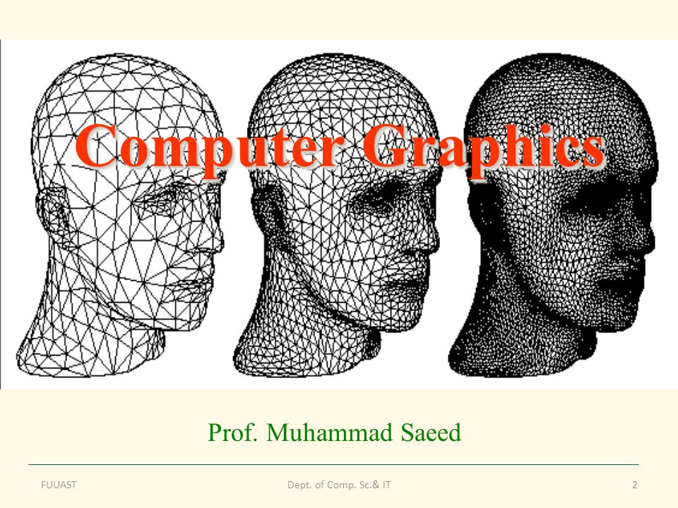 FUUASTDept. of Comp. Sc.& IT2 Computer Graphics Prof. Muhammad Saeed