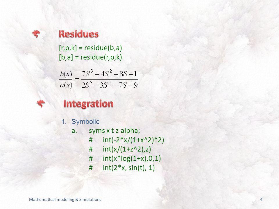 4 [r,p,k] = residue(b,a) [b,a] = residue(r,p,k) 1.Symbolic a.syms x t z alpha; #int(-2*x/(1+x^2)^2) #int(x/(1+z^2),z) #int(x*log(1+x),0,1) #int(2*x, sin(t), 1)
