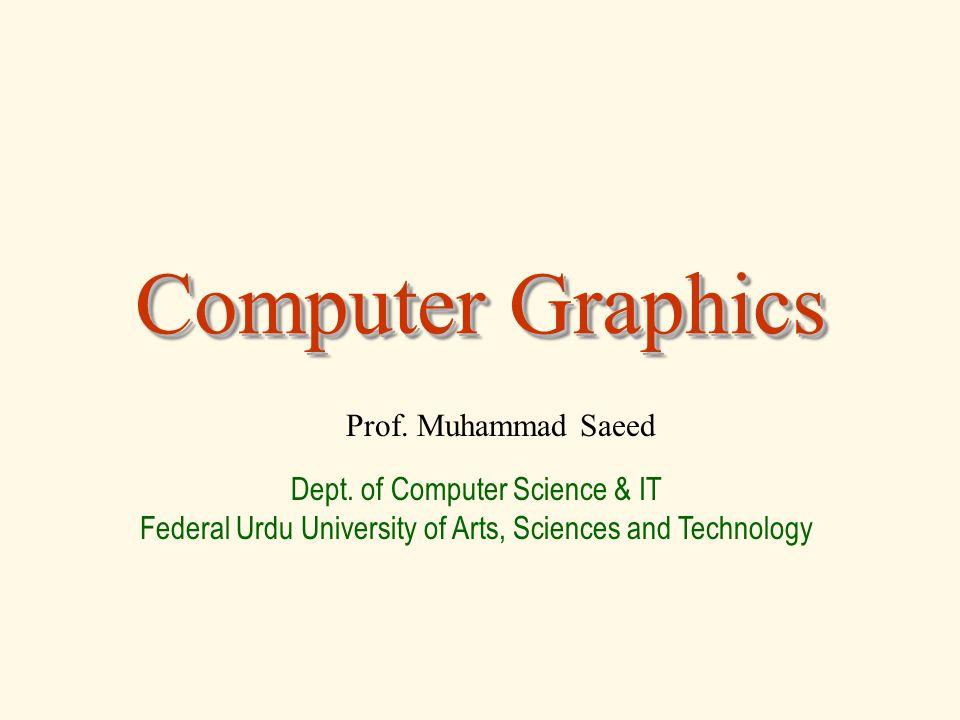 Computer Graphics Prof. Muhammad Saeed Dept.