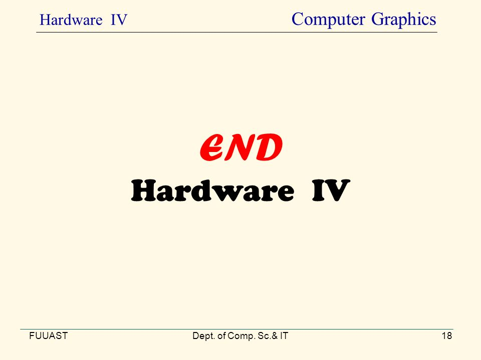 END Hardware IV FUUASTDept. of Comp. Sc.& IT18 Hardware IV Computer Graphics