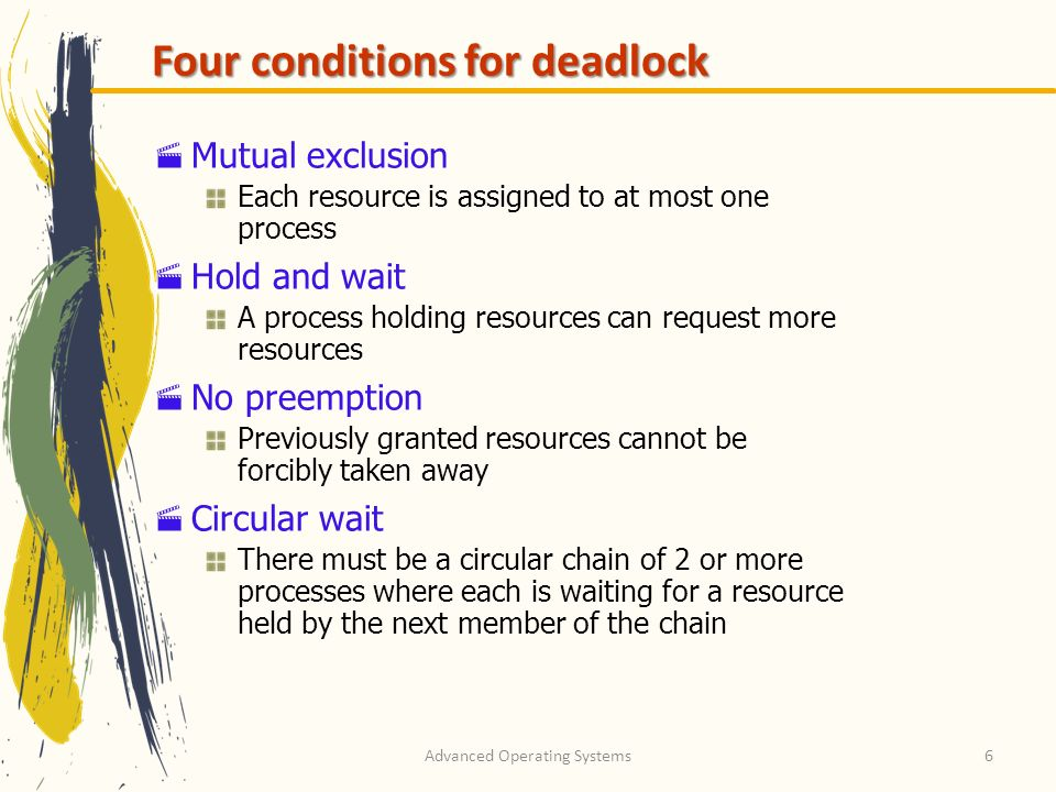 Advanced Operating Systems6 Four conditions for deadlock Mutual exclusion Each resource is assigned to at most one process Hold and wait A process hol