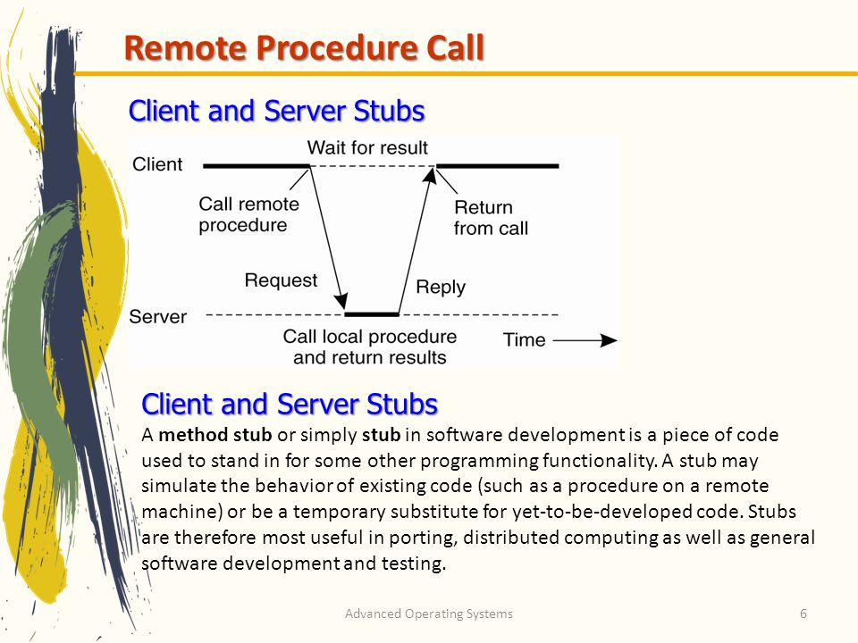 Advanced Operating Systems6 Remote Procedure Call Client and Server Stubs A method stub or simply stub in software development is a piece of code used