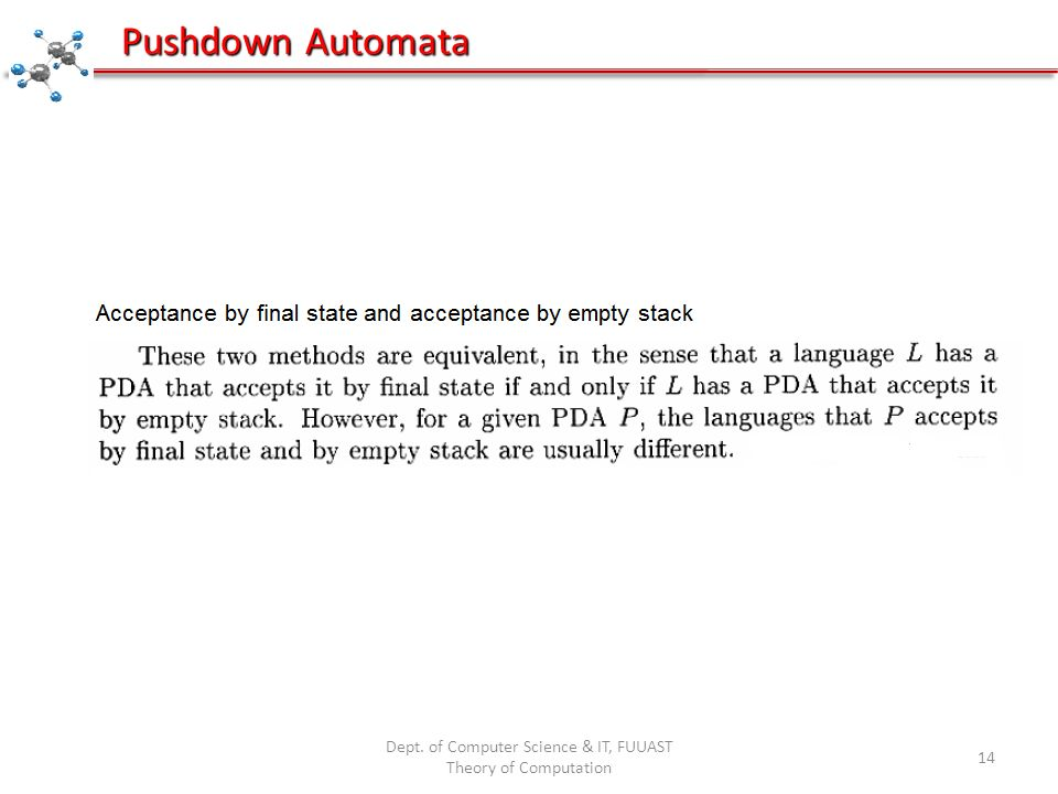 Dept. of Computer Science & IT, FUUAST Theory of Computation 14 Pushdown Automata