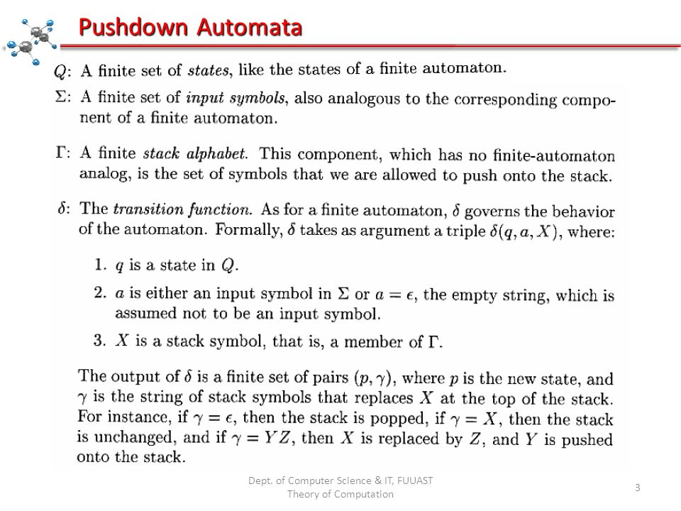 Dept. of Computer Science & IT, FUUAST Theory of Computation 3 Pushdown Automata