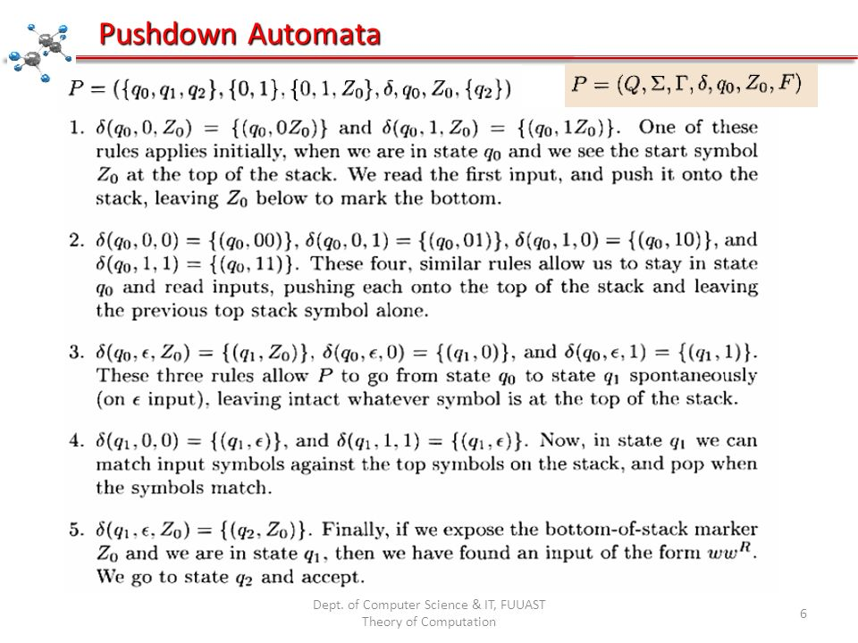 Dept. of Computer Science & IT, FUUAST Theory of Computation 6 Pushdown Automata