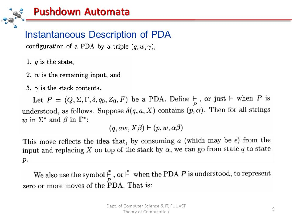 Dept. of Computer Science & IT, FUUAST Theory of Computation 9 Pushdown Automata Instantaneous Description of PDA