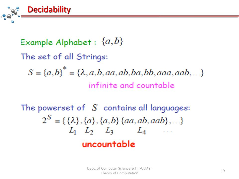 Dept. of Computer Science & IT, FUUAST Theory of Computation 19 Decidability