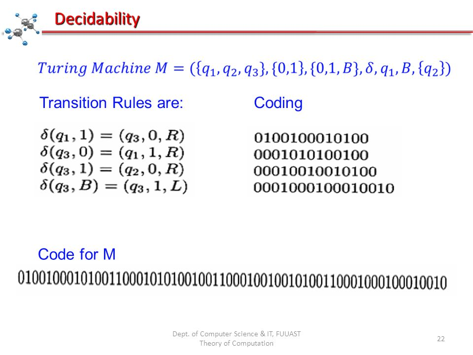 Dept. of Computer Science & IT, FUUAST Theory of Computation 22 Decidability Transition Rules are:Coding Code for M