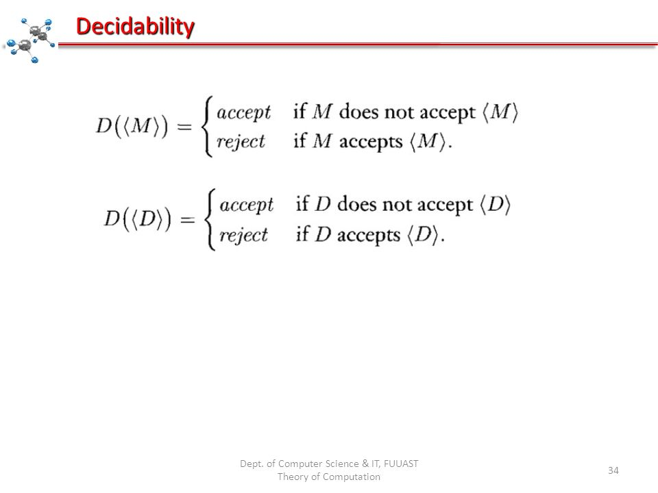 Dept. of Computer Science & IT, FUUAST Theory of Computation 34 Decidability