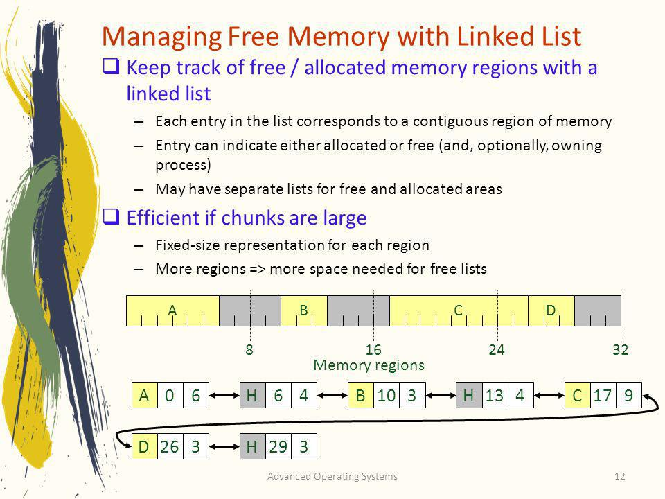 Advanced Operating Systems12 Managing Free Memory with Linked List Keep track of free / allocated memory regions with a linked list – Each entry in th