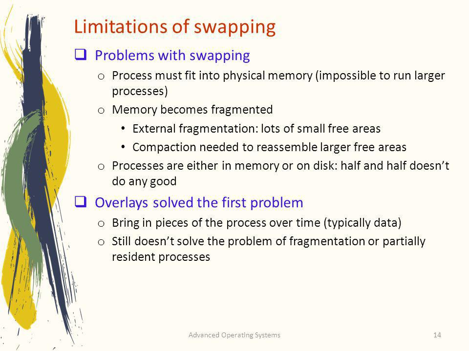 Advanced Operating Systems14 Limitations of swapping Problems with swapping o Process must fit into physical memory (impossible to run larger processe