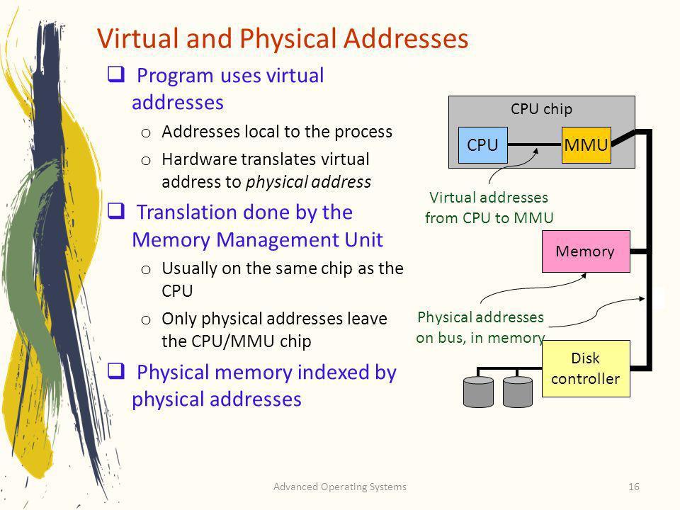 Advanced Operating Systems16 Program uses virtual addresses o Addresses local to the process o Hardware translates virtual address to physical address