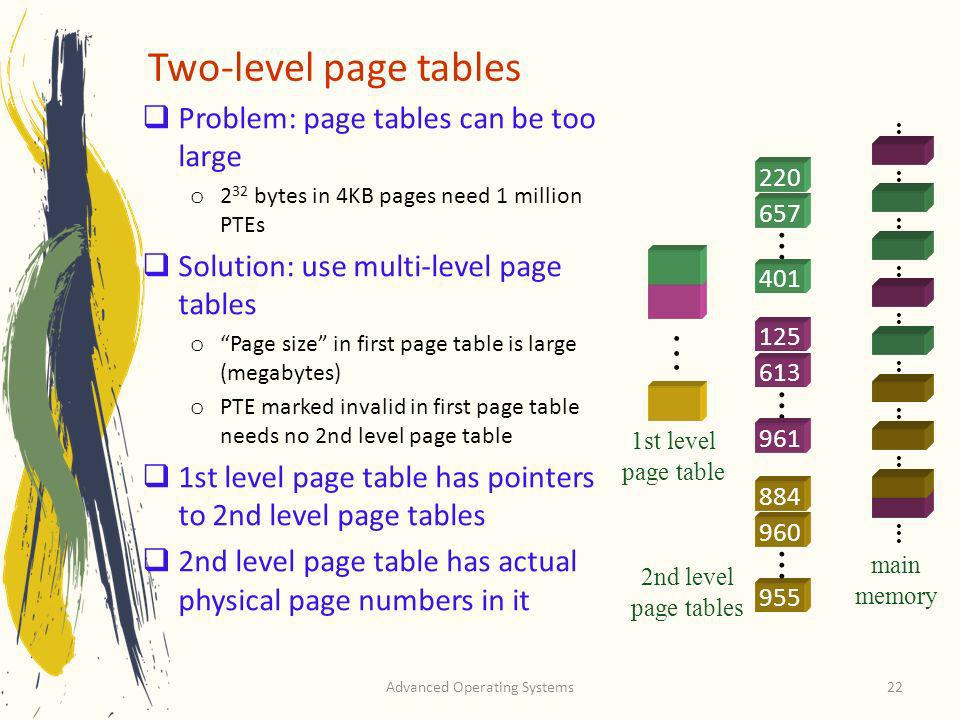 Advanced Operating Systems22 Two-level page tables Problem: page tables can be too large o 2 32 bytes in 4KB pages need 1 million PTEs Solution: use m