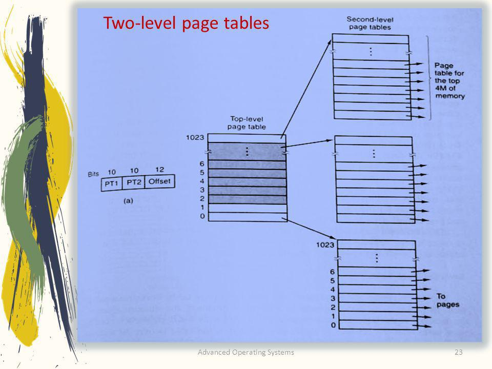 Advanced Operating Systems23 Two-level page tables