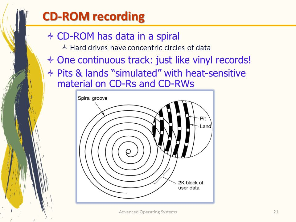 Advanced Operating Systems21 CD-ROM recording CD-ROM has data in a spiral Hard drives have concentric circles of data One continuous track: just like vinyl records.