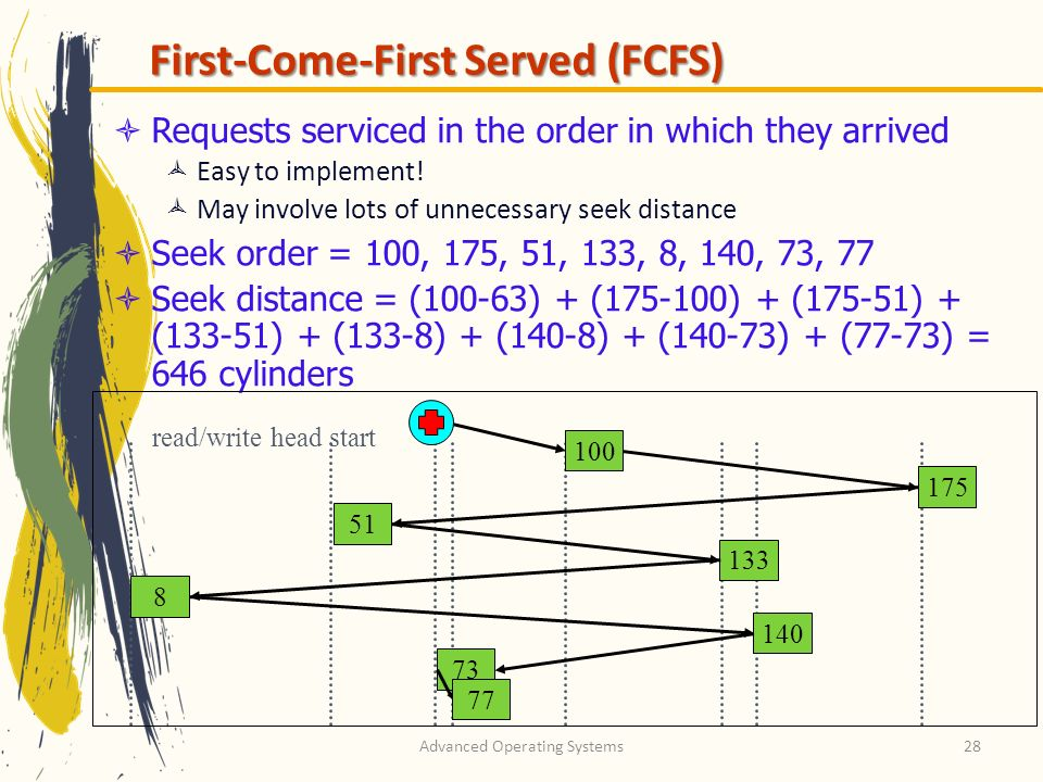 Advanced Operating Systems28 First-Come-First Served (FCFS) Requests serviced in the order in which they arrived Easy to implement.