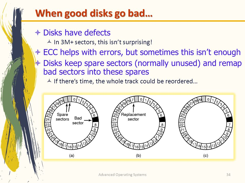 Advanced Operating Systems34 When good disks go bad… Disks have defects In 3M+ sectors, this isnt surprising.