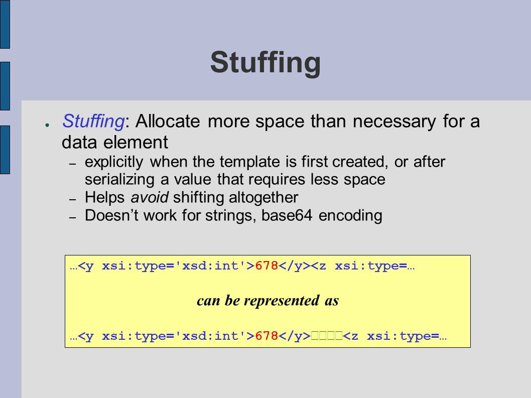 Stuffing Stuffing: Allocate more space than necessary for a data element – explicitly when the template is first created, or after serializing a value