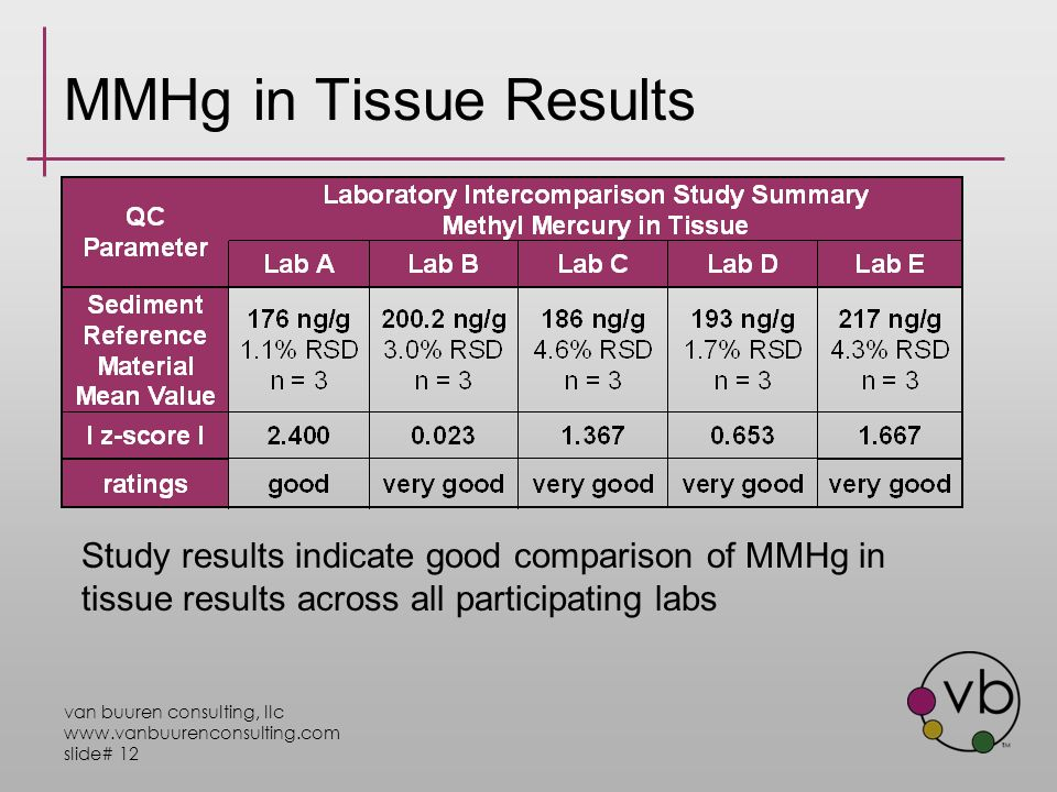 van buuren consulting, llc www.vanbuurenconsulting.com slide# 12 MMHg in Tissue Results Study results indicate good comparison of MMHg in tissue results across all participating labs