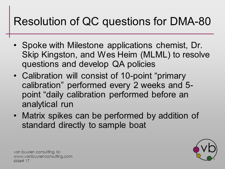 van buuren consulting, llc www.vanbuurenconsulting.com slide# 17 Resolution of QC questions for DMA-80 Spoke with Milestone applications chemist, Dr.