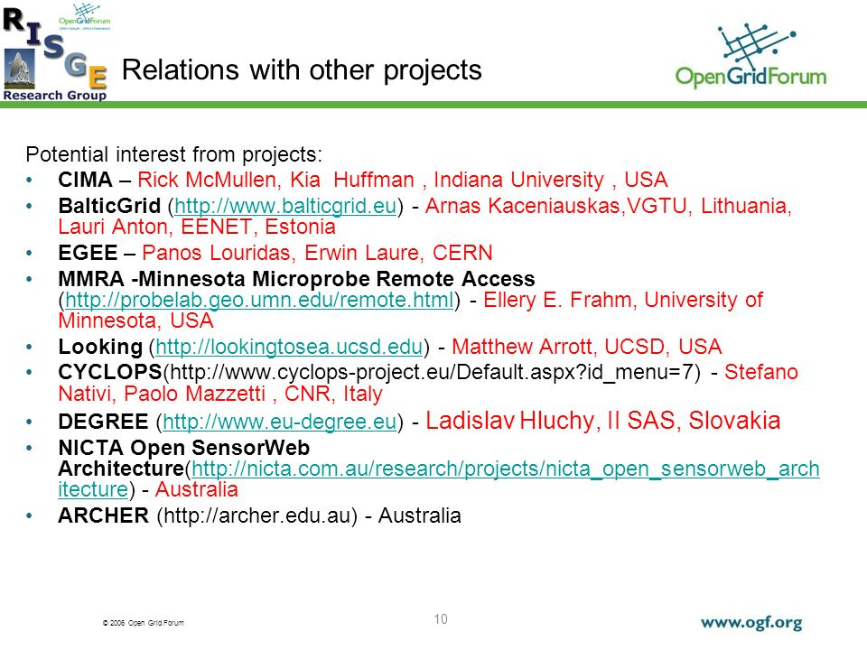© 2006 Open Grid Forum 10 Relations with other projects Potential interest from projects: CIMA – Rick McMullen, Kia Huffman, Indiana University, USA B