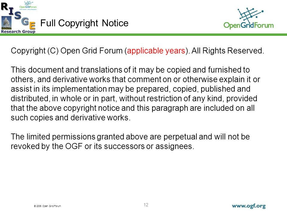 © 2006 Open Grid Forum 12 Full Copyright Notice Copyright (C) Open Grid Forum (applicable years).