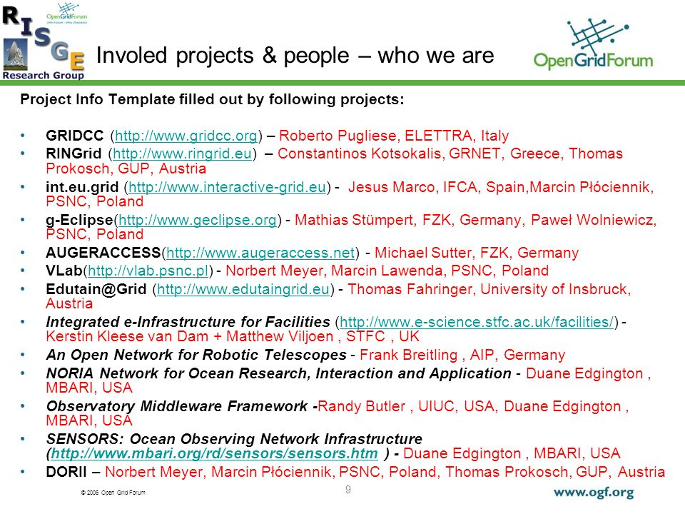 © 2006 Open Grid Forum 9 Involed projects & people – who we are Project Info Template filled out by following projects: GRIDCC (  – Roberto Pugliese, ELETTRA, Italyhttp://  RINGrid (  – Constantinos Kotsokalis, GRNET, Greece, Thomas Prokosch, GUP, Austriahttp://  int.eu.grid (  - Jesus Marco, IFCA, Spain,Marcin Płóciennik, PSNC, Polandhttp://  g-Eclipse(  - Mathias Stümpert, FZK, Germany, Paweł Wolniewicz, PSNC, Polandhttp://  AUGERACCESS(  - Michael Sutter, FZK, Germanyhttp://  VLab(  - Norbert Meyer, Marcin Lawenda, PSNC, Polandhttp://vlab.psnc.pl (  - Thomas Fahringer, University of Insbruck, Austriahttp://  Integrated e-Infrastructure for Facilities (  - Kerstin Kleese van Dam + Matthew Viljoen, STFC, UKhttp://  An Open Network for Robotic Telescopes - Frank Breitling, AIP, Germany NORIA Network for Ocean Research, Interaction and Application - Duane Edgington, MBARI, USA Observatory Middleware Framework -Randy Butler, UIUC, USA, Duane Edgington, MBARI, USA SENSORS: Ocean Observing Network Infrastructure (  ) - Duane Edgington, MBARI, USAhttp://  DORII – Norbert Meyer, Marcin Płóciennik, PSNC, Poland, Thomas Prokosch, GUP, Austria