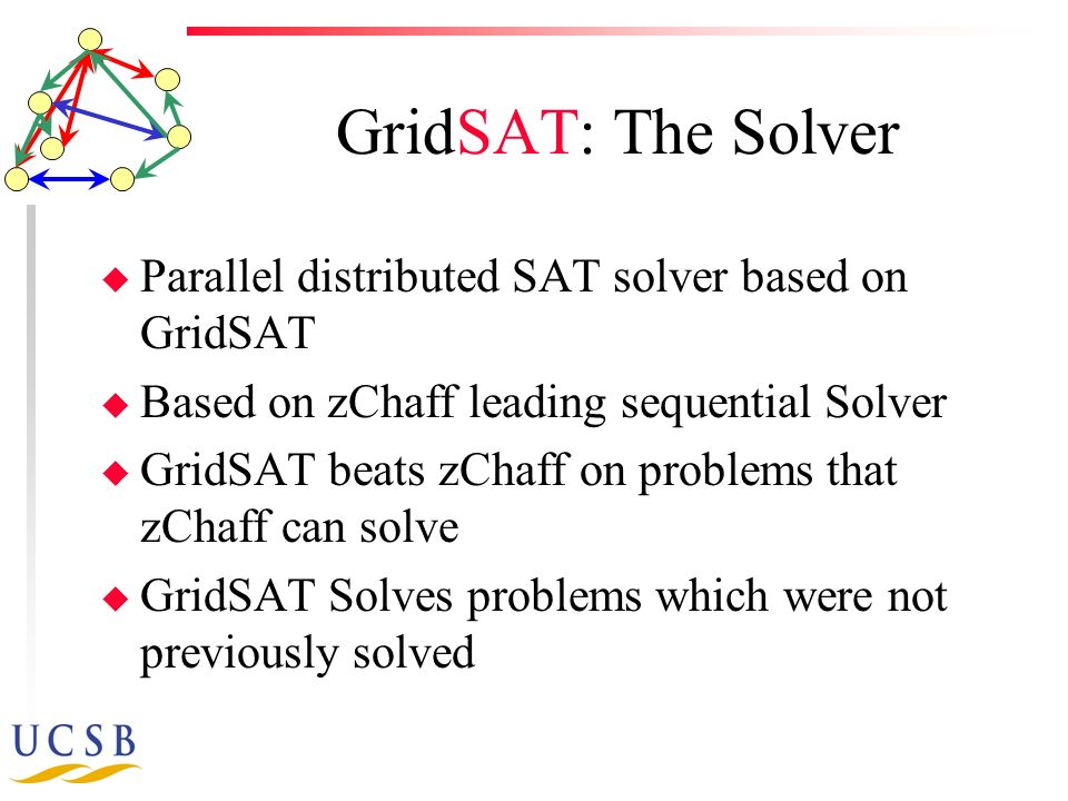 GridSAT: The Solver u Parallel distributed SAT solver based on GridSAT u Based on zChaff leading sequential Solver u GridSAT beats zChaff on problems that zChaff can solve u GridSAT Solves problems which were not previously solved
