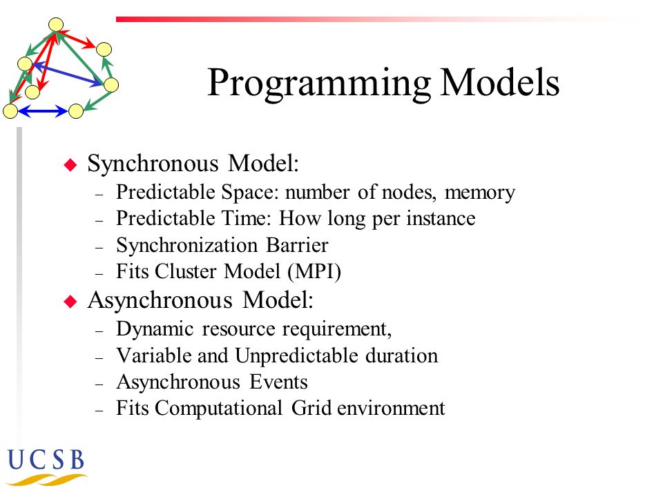 Programming Models u Synchronous Model: – Predictable Space: number of nodes, memory – Predictable Time: How long per instance – Synchronization Barrier – Fits Cluster Model (MPI) u Asynchronous Model: – Dynamic resource requirement, – Variable and Unpredictable duration – Asynchronous Events – Fits Computational Grid environment