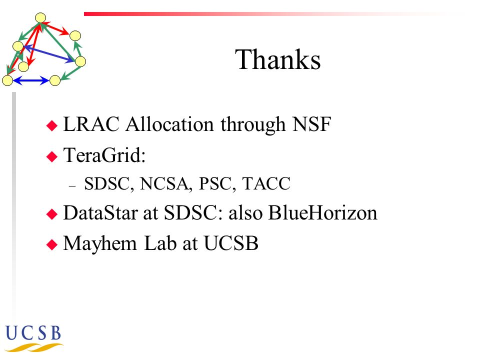 Thanks u LRAC Allocation through NSF u TeraGrid: – SDSC, NCSA, PSC, TACC u DataStar at SDSC: also BlueHorizon u Mayhem Lab at UCSB