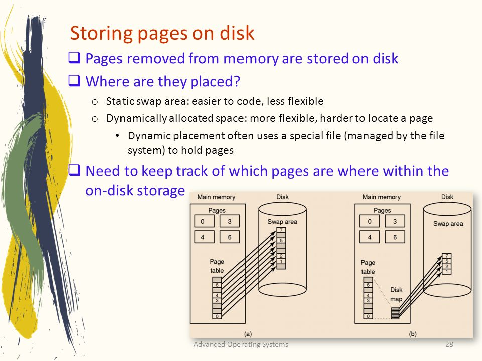 Advanced Operating Systems28 Storing pages on disk Pages removed from memory are stored on disk Where are they placed? o Static swap area: easier to c