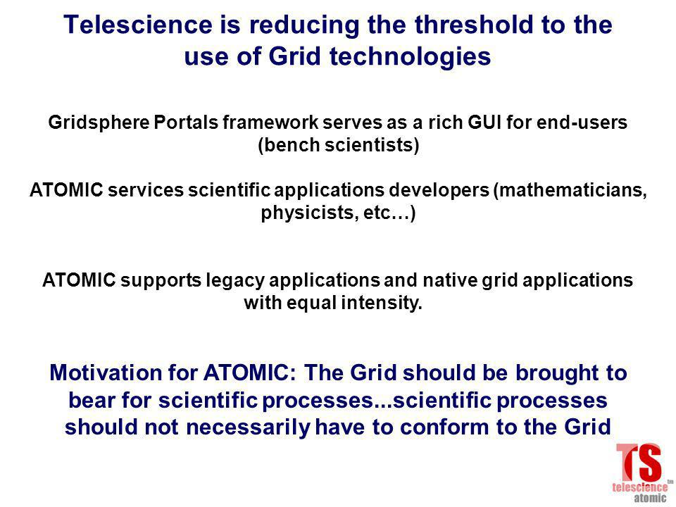Telescience is reducing the threshold to the use of Grid technologies Gridsphere Portals framework serves as a rich GUI for end-users (bench scientists) ATOMIC services scientific applications developers (mathematicians, physicists, etc…) ATOMIC supports legacy applications and native grid applications with equal intensity.