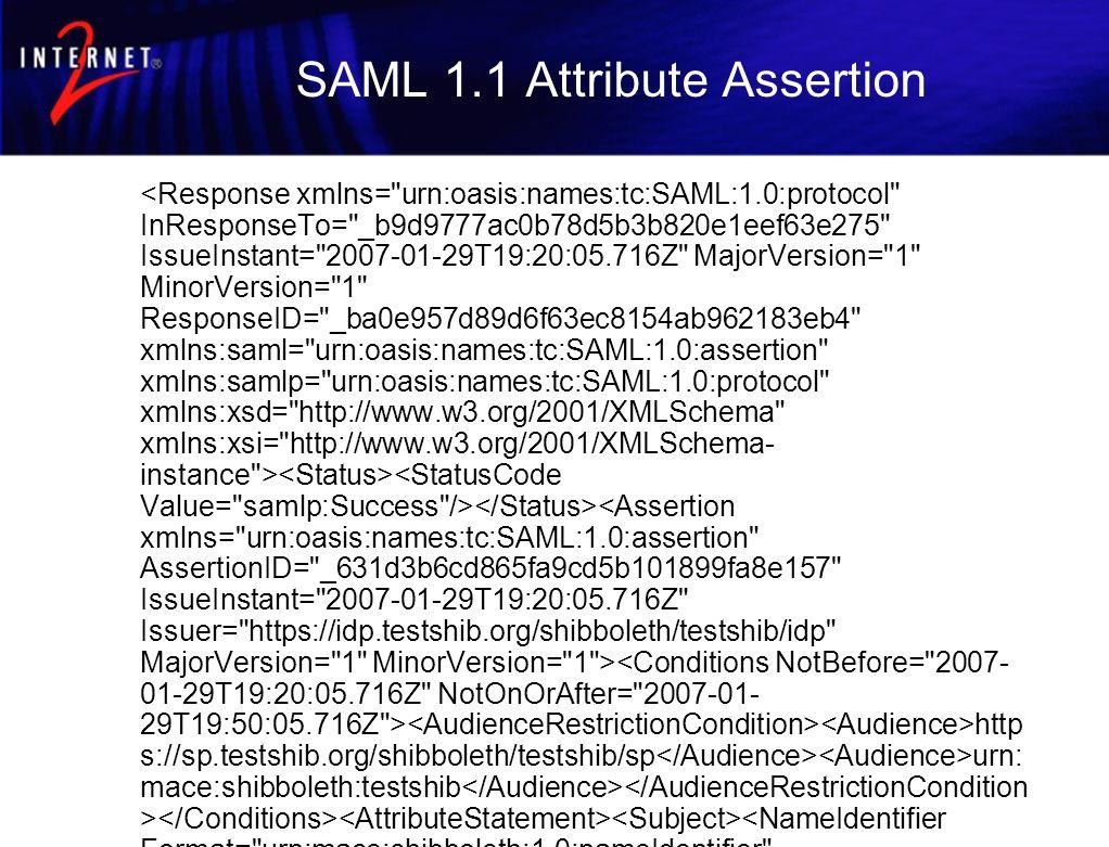 SAML 1.1 Attribute Assertion http s://sp.testshib.org/shibboleth/testshib/sp urn: mace:shibboleth:testshib _9a4 6e887ae1bad9d81e25a8b1b12d819 urn:mace