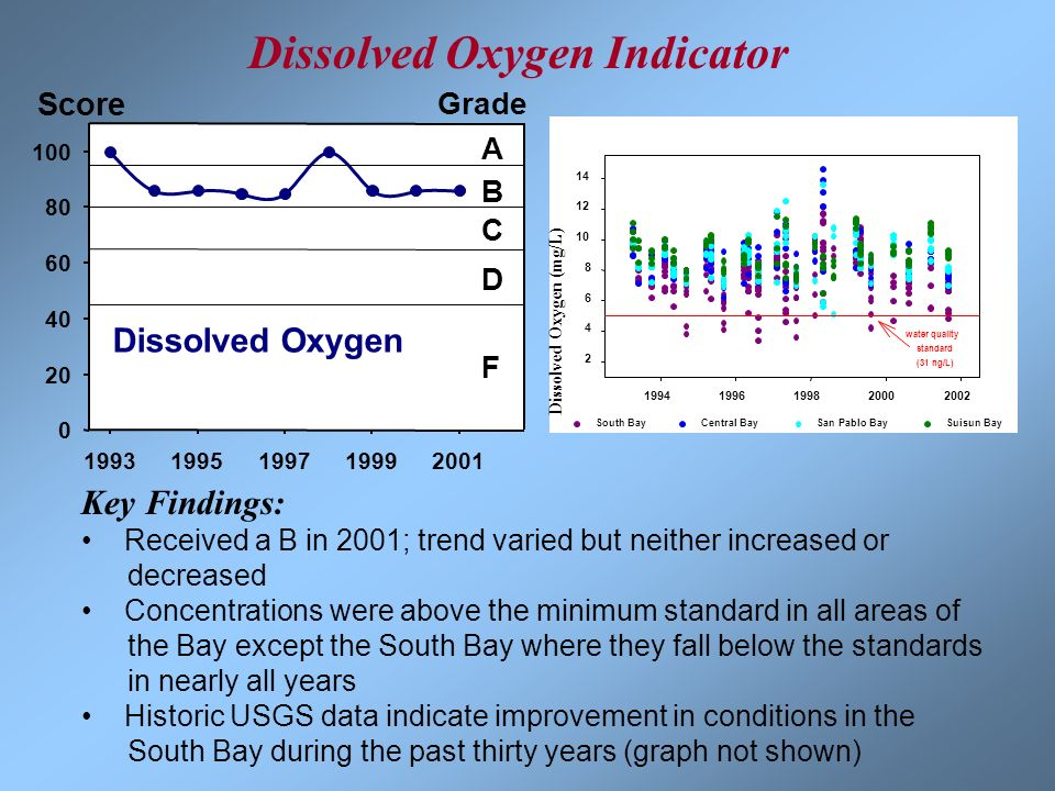 19931995199719992001 0 20 40 60 80 100 A B C D F Grade Dissolved Oxygen Score 19941996199820002002 2 4 6 8 10 12 14 South BayCentral BaySan Pablo BayS
