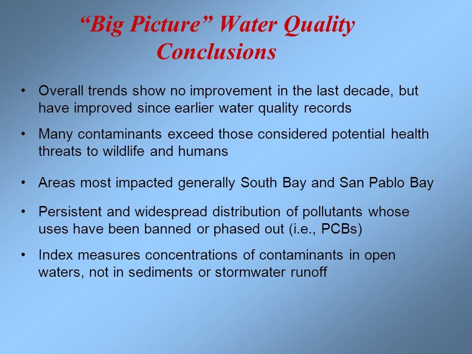 Big Picture Water Quality Conclusions Overall trends show no improvement in the last decade, but have improved since earlier water quality records Man