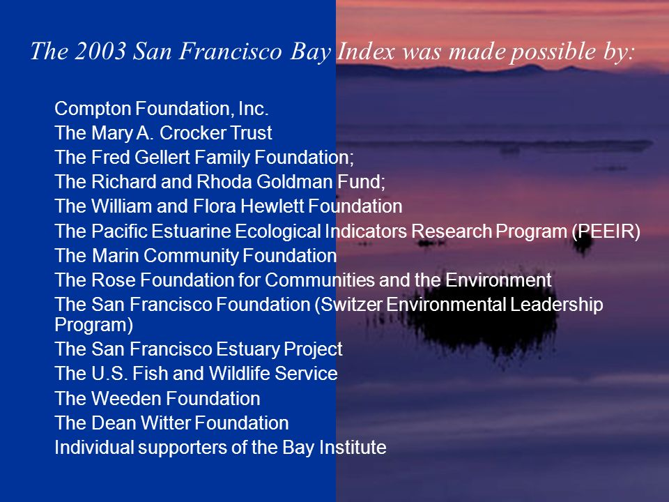 The 2003 San Francisco Bay Index was made possible by: Compton Foundation, Inc. The Mary A. Crocker Trust The Fred Gellert Family Foundation; The Rich