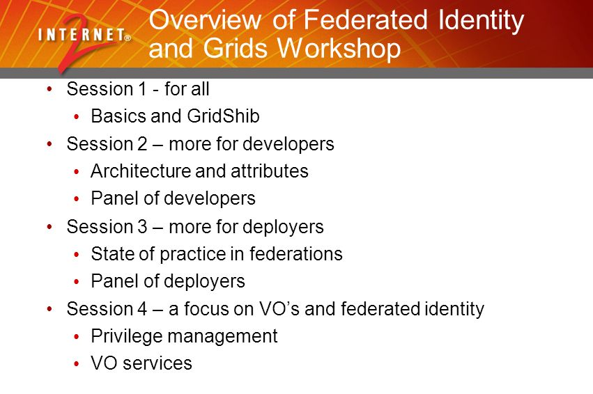 Overview of Federated Identity and Grids Workshop Session 1 - for all Basics and GridShib Session 2 – more for developers Architecture and attributes Panel of developers Session 3 – more for deployers State of practice in federations Panel of deployers Session 4 – a focus on VOs and federated identity Privilege management VO services