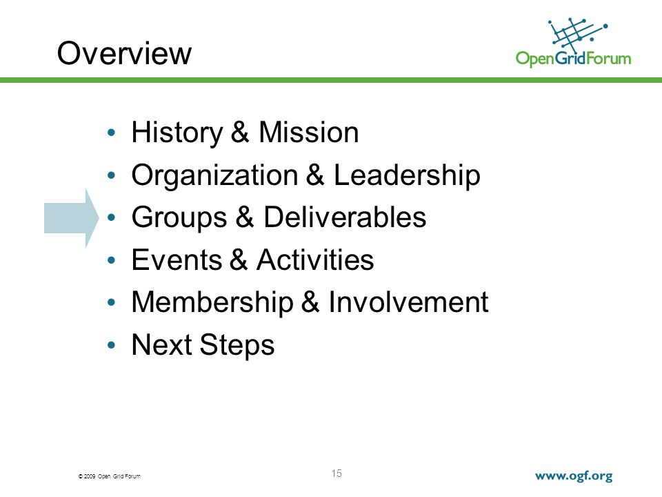© 2009 Open Grid Forum 15 Overview History & Mission Organization & Leadership Groups & Deliverables Events & Activities Membership & Involvement Next Steps