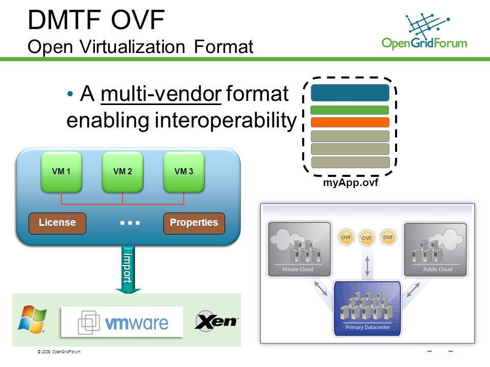© 2009 OpenGridForum DMTF OVF Open Virtualization Format A multi-vendor format enabling interoperability myApp.ovf
