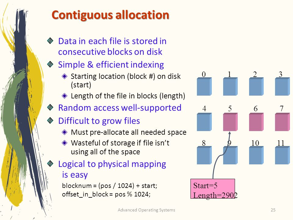 Advanced Operating Systems25 Contiguous allocation Data in each file is stored in consecutive blocks on disk Simple & efficient indexing Starting location (block #) on disk (start) Length of the file in blocks (length) Random access well-supported Difficult to grow files Must pre-allocate all needed space Wasteful of storage if file isnt using all of the space Logical to physical mapping is easy blocknum = (pos / 1024) + start; offset_in_block = pos % 1024; Start=5 Length=2902 0123 4567 891011