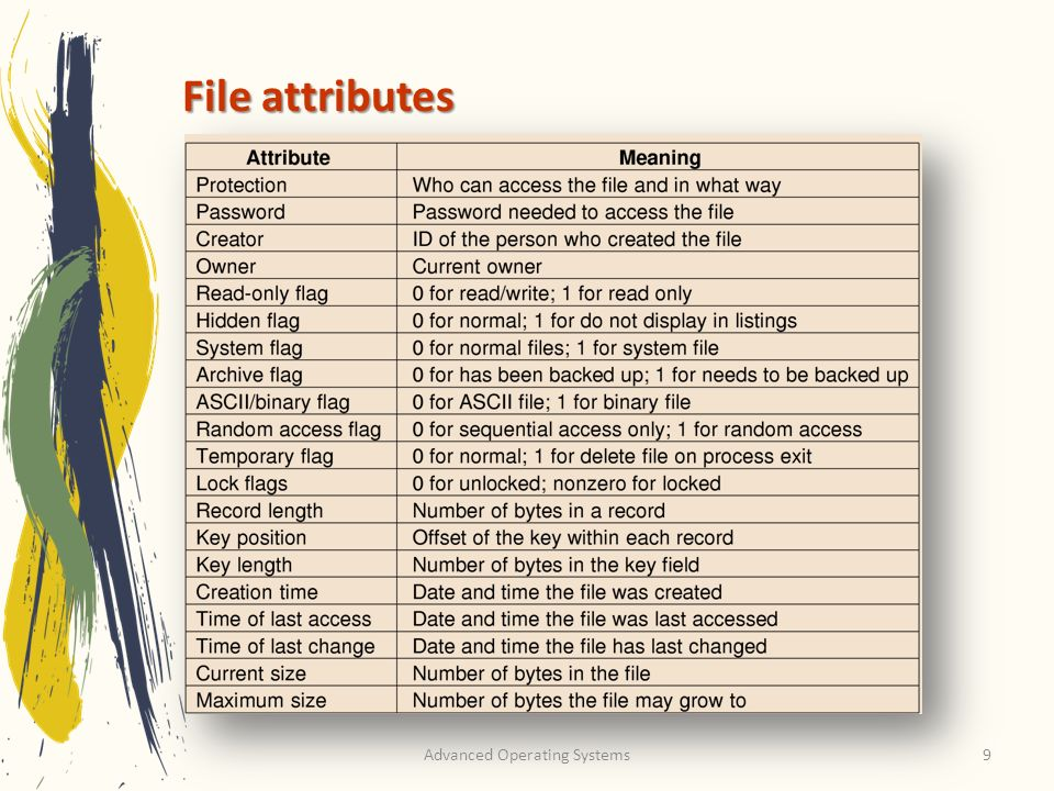 Advanced Operating Systems9 File attributes