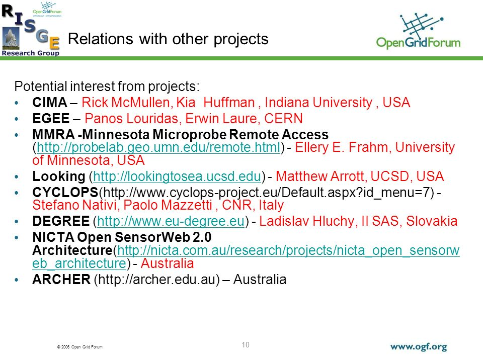 © 2006 Open Grid Forum 10 Relations with other projects Potential interest from projects: CIMA – Rick McMullen, Kia Huffman, Indiana University, USA EGEE – Panos Louridas, Erwin Laure, CERN MMRA -Minnesota Microprobe Remote Access (http://probelab.geo.umn.edu/remote.html) - Ellery E.
