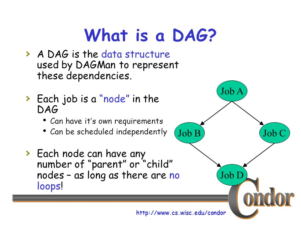 http://www.cs.wisc.edu/condor What is a DAG.