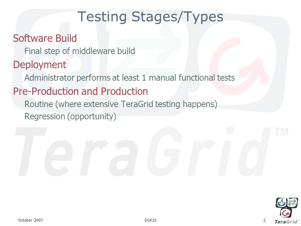 October 2007OGF212 Software Build Final step of middleware build Deployment Administrator performs at least 1 manual functional tests Pre-Production and Production Routine (where extensive TeraGrid testing happens) Regression (opportunity) Testing Stages/Types