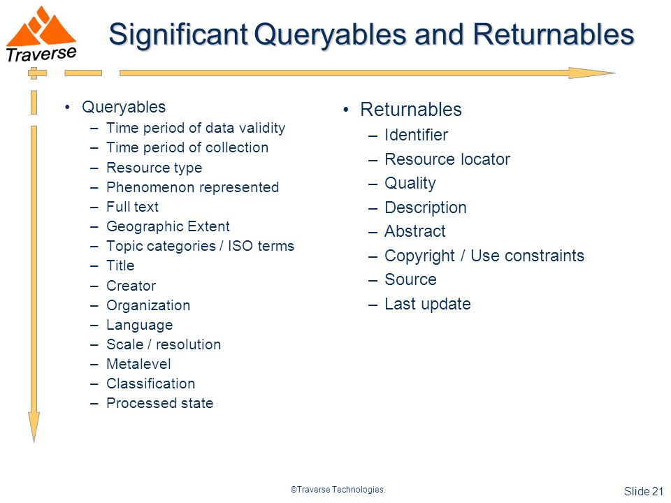 ©Traverse Technologies. Slide 21 Significant Queryables and Returnables Queryables –Time period of data validity –Time period of collection –Resource