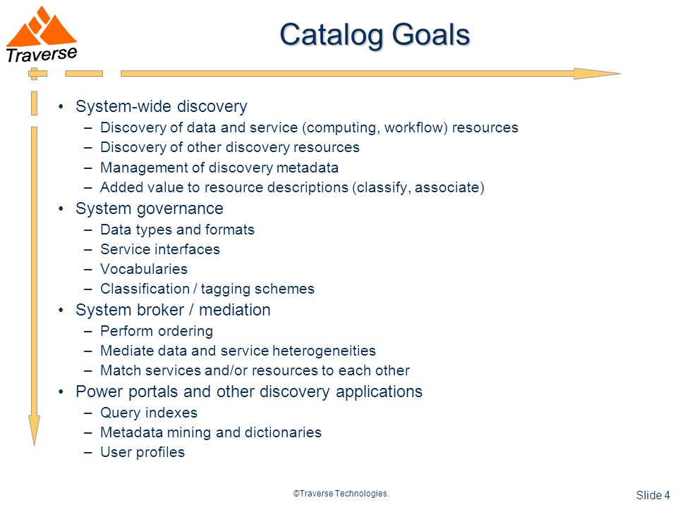 ©Traverse Technologies. Slide 4 Catalog Goals System-wide discovery –Discovery of data and service (computing, workflow) resources –Discovery of other